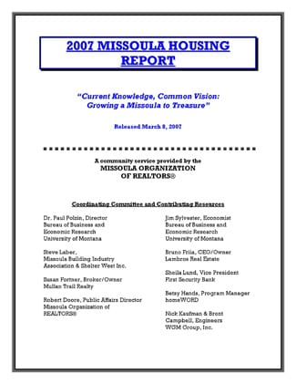 Cover Page, 2007 Missoula Housing Report